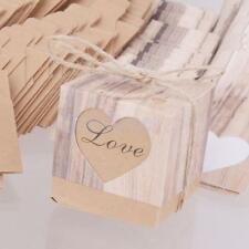 50pcs Rustic Love Heart Candy Boxes Vintage Craft Wedding Box Party Favors