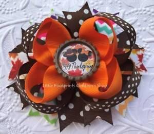 "Happy Thanksgiving Mickey & Minnie Bottle Cap Hair Bow 4 1/2"""