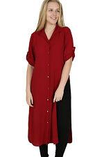 Ladies Plus Sizes Midi Shirt Split Side Collar Party Abaya Maxi Dress S - XXXXL Wine XXL (uk 18-20)