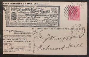 1901 Richmond Hill Canada Postcard Cover Domestic Used Dominion Express Co