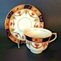 Colclough Pedestal Teacup And Saucer - Imari Red Blue And Gold - England