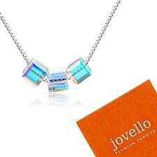 Silber Multicolor Kristall Würfel Halskette Kette aus 925 Sterlingsilber +Beutel