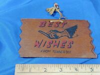 RARE Risque Wooden Postcard Sign MIDDLE FINGER Best Wishes Tennessee VTG Antique