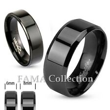 FAMA Stainless Steel Black IP Beveled Edge Flat Band Ring Size 5-14