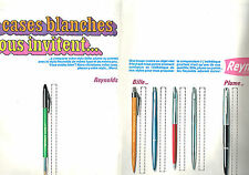 PUBLICITE ADVERTISING 025  1967  REYNOLDS stylos bille plume CASES BLANCHES (2p
