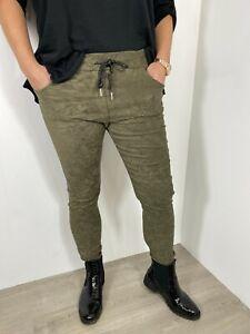 Magic Pants Suede Moleskin (Faux) Magic Trousers Super Stretchy Soft Cosy Khaki
