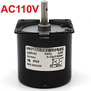 Synchronous Motor 60KTYZ AC 110V 60Hz 1 rpm/m CW/CCW 14W Gear Motor