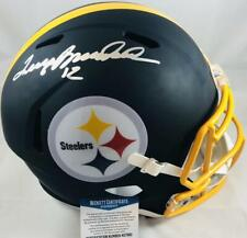 Terry Bradshaw signed black matte Pittsburgh Steelers full size helmet BAS M660