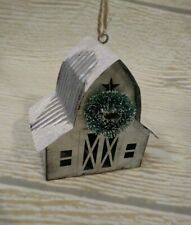 New! Old Barn Metal Christmas Ornament Decor Farmhouse Country Rustic Farm Snow