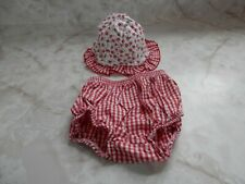 Baby Girl 6-12 Months Koala Baby Red White Floral Check Summer Cap Hat Bloomers