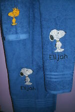 Snoopy Personalized 3 Piece Bath Towel Set Any Color Choice