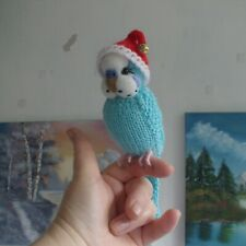 More details for knitted budgie by carol harrison - budgerigar  needle felted face