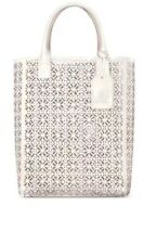 eb26085e297 Tory Burch Large White Lace Perforated Patent leather Tote Bag Handbag