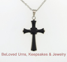 "Funky Black and Silver Cross Cremation Jewelry Urn Keepsake with 20"" Necklace"