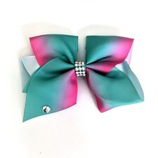 12cm Multi-Coloured Single Diamante Girls Hair Bow with Aligator Clip #2