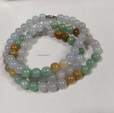 Certified Grade A Multi-colour Jadeite Jade 8mm beads L55cm, Gemstone Necklace