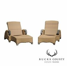Brown Jordan Tommy Bahama Teak & Outdoor Wicker Pair Patio Chaise Lounges