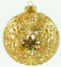 Vintage W Germany Fillagree Gold Ball Holiday Christmas Tree Ornament