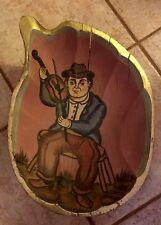 VTG Mexican Folk Art Man w/Violin Wooden Kneading Bowl By Jean Miguel Jaimes
