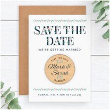 PERSONALISED Vintage Boho Wedding Save The Date Cards Fridge Magnets Typography