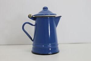Alte Emaille Kanne Blau Kaffeekanne Milchkanne Shabby Landhaus Vintage #4840