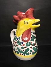 MID CENTURY CERAMIC ART POTTERY FIGURAL ROOSTER PITCHER MADE IN ITALY PAINTED!!!