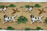 "Vintage Novelty Print Fabric Hunting Dogs Pheasants Fabric Panel 24.5""x47"""