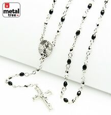 """Silver Plated 4 mm Bead Guadalupe & Jesus Cross 25"""" Rosary Necklace HR 700 SSBK"""
