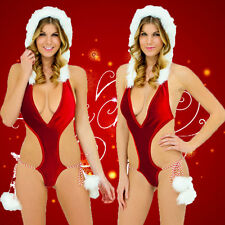 Women Sexy Lingerie Fancy Deep V Christmas Body Hooded Suit COS Party Costume