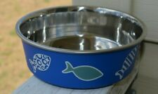Whisker City Stainless Steel Bella Blue Fish Anti Slip Cat Bowl Dish 5 1/2""