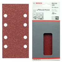 Bosch Sanding Sheets Mixed Grit 10 x 93x186 mm 8 Hole C430 WOOD+PAINT 2608605310