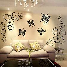 Papillon Mur Sticker Autocollant fleur Mural DIY Art Décor Salon Maison Chambre