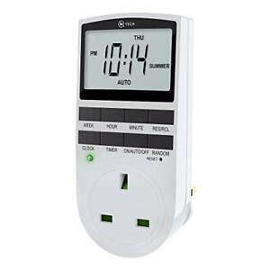 iN TECH Digital Timer Plug - 12/24hr System 3-Pin Smart Indoor Plug in Timer -