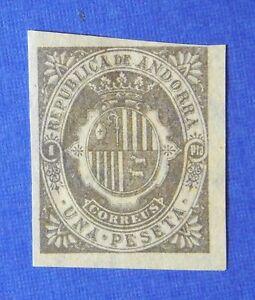 1875 ANDORRA SPANISH 1P UNISSUED STAMP SCOTT# - MICHEL # - UNUSED IMPERF CS25526