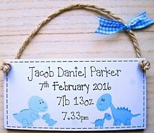 PERSONALISED ANY TEXT GIFT new baby / christening birth plaque dinosaur sign boy