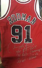 Fanatics COA Dennis Rodman 4/9 Multiple Inscription Autograph Away Jersey Auto