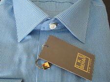$265 NWT GOLD LABEL Ike Behar New York Pool Blue Check Dress Shirt 17 LS 34/35
