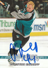 CHRISTIAN EHRHOFF SHARKS AUTOGRAPH AUTO 03-04 IN THE GAME ACTION #661 *22137