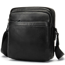 "Genuine Leather Men Bag Small 7"" Shoulder Messenger Cross-body Bags Handbag"