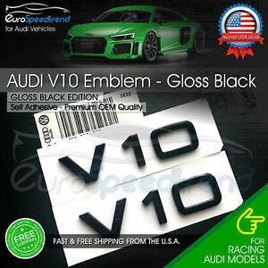 Audi V10 Emblem Gloss Black OEM Side Fender Badge A4 A5 A6 A7 S6 Q3 Q5 Q7 TT 2x