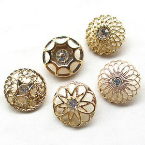20pcs Gold Alloy Rhinestone Hollow Buttons 25mm Sewing Craft