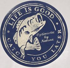"""Life is Good Sticker 4"""" Round 'Catch You Later' Navy & Beige Fish Optimistic"""