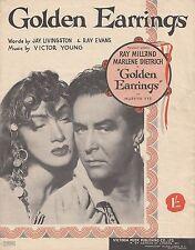 1946 Sheet Music: Golden Earrings from the film: Roy Milland: Marlene Dietrcich