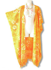 CD229 Orange Batik Plus Size Maxi Cardigan Kaftan Duster Jacket -2X, 3X, 4X & 5X
