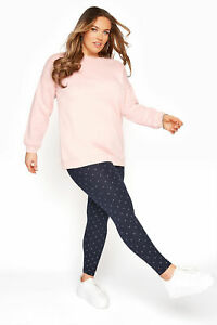 Yours Women's Navy Polka Dot Leggings Plus Size Curve Navy Size