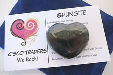 Shungite Carved Heart A30-01 Russia Pouch Card Healing Crystal USA Seller