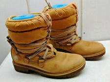 Timberland 650 Gold Leather Ankle Pull On Boot Rain Winter Women Shoe Size 6.5M