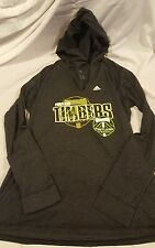 Portland Timbers Gray Deep V-Neck Hoodie Womens Size XL Adidas MLS Soccer