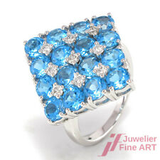 Ring - 18K/750 WG - 16 Blautopase 4,45 c & 9 Diamanten 0,32 ct TW-SI - 7,4 g
