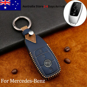 Leather Remote Key Case Cover Shell Fob For Mercedes Benz C A E S Class GLA Blue